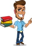 Simple Style Cartoon of a Man with Glasses - with Books