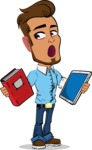 Simple Style Cartoon of a Man with Glasses - Choosing between Book and Tablet