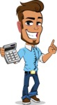 Simple Style Cartoon of a Man with Glasses - with Calculator