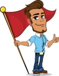 Simple Style Cartoon of a Man with Glasses - with Flag
