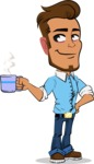 Simple Style Cartoon of a Man with Glasses - Drinking Coffee