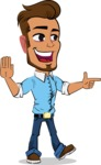 Simple Style Cartoon of a Man with Glasses - Pointing with a fnger