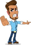 Simple Style Cartoon of a Man with Glasses - Finger pointing with angry face