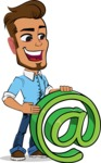 Simple Style Cartoon of a Man with Glasses - with Email sign