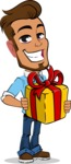 Simple Style Cartoon of a Man with Glasses - with Gift box