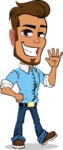 Simple Style Cartoon of a Man with Glasses - Waving for Hello with a hand