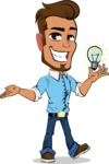 Simple Style Cartoon of a Man with Glasses - with an Idea