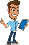 Simple Style Cartoon of a Man with Glasses - Holding an iPad