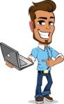 Simple Style Cartoon of a Man with Glasses - Holding a laptop
