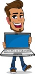 Simple Style Cartoon of a Man with Glasses - Showing a laptop