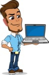 Simple Style Cartoon of a Man with Glasses - Presenting on laptop