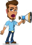 Simple Style Cartoon of a Man with Glasses - Holding a Loudspeaker