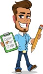 Simple Style Cartoon of a Man with Glasses - Holding a notepad with pencil