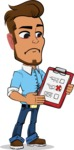 Simple Style Cartoon of a Man with Glasses - Holding a notepad