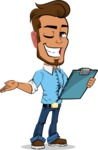 Simple Style Cartoon of a Man with Glasses - Making thumbs up with notepad