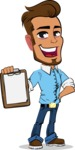Simple Style Cartoon of a Man with Glasses - Smiling and holding notepad