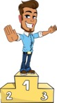 Simple Style Cartoon of a Man with Glasses - with Success on Top