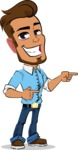 Simple Style Cartoon of a Man with Glasses - Pointing with both hands