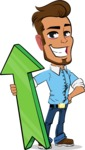 Simple Style Cartoon of a Man with Glasses - with Up arrow