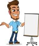 Simple Style Cartoon of a Man with Glasses - with a Blank Presentation board