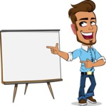Simple Style Cartoon of a Man with Glasses - Pointing on a Blank whiteboard