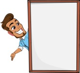 Simple Style Cartoon of a Man with Glasses - Making peace sign with Big Presentation board