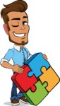 Simple Style Cartoon of a Man with Glasses - with Puzzle