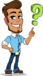 Simple Style Cartoon of a Man with Glasses - with Question mark