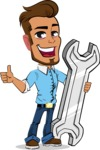 Simple Style Cartoon of a Man with Glasses - with Repairing tool wrench
