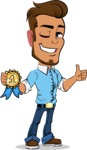 Simple Style Cartoon of a Man with Glasses - Winning prize
