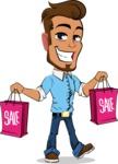 Simple Style Cartoon of a Man with Glasses - Holding shopping bags