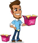 Simple Style Cartoon of a Man with Glasses - with Sale boxes