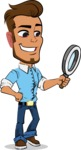 Simple Style Cartoon of a Man with Glasses - Searching with magnifying glass