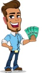 Simple Style Cartoon of a Man with Glasses - Holding Money
