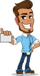 Simple Style Cartoon of a Man with Glasses - with a Blank Business card