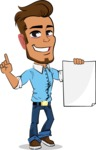 Simple Style Cartoon of a Man with Glasses - with a Blank paper