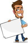 Simple Style Cartoon of a Man with Glasses - Holding a Blank banner