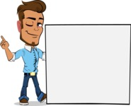 Simple Style Cartoon of a Man with Glasses - Holding a Blank sign and Pointing