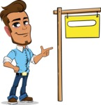 Simple Style Cartoon of a Man with Glasses - with Blank Real estate sign