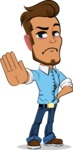 Simple Style Cartoon of a Man with Glasses - Making stop gesture with both hands