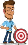 Simple Style Cartoon of a Man with Glasses - with Target