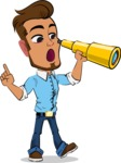 Simple Style Cartoon of a Man with Glasses - Looking through telescope