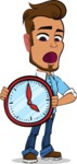 Simple Style Cartoon of a Man with Glasses - Holding clock