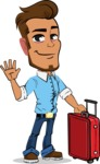 Simple Style Cartoon of a Man with Glasses - with Suitcase