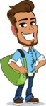 Simple Style Cartoon of a Man with Glasses - Traveling