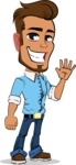 Simple Style Cartoon of a Man with Glasses - Waving