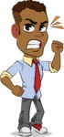 Simple Style Cartoon of an African-American Guy - with Angry face