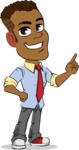 Simple Style Cartoon of an African-American Guy - Making a point