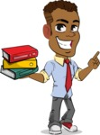 Simple Style Cartoon of an African-American Guy - with Books