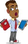 Simple Style Cartoon of an African-American Guy - Choosing between Book and Tablet